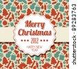 Vintage retro Christmas label on seasonal pattern - stock vector
