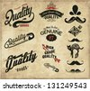 vintage retro Collection of Premium and High Quality labels 2 - stock vector