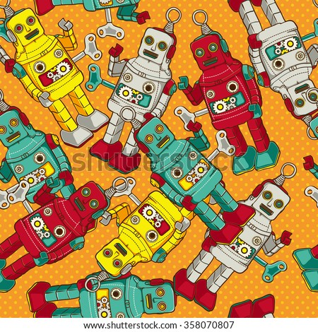 Vintage / Retro colorful Robot seamless  pattern, vector illustration