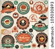 Vintage retro grunge bakery, cupcake, sandwich labels, badges and icons - stock vector