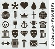 Vintage retro icons set. Vector design elements. - stock vector
