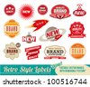 Vintage retro labels and tags. Editable vector images with removable texture. - stock vector