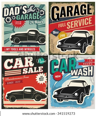 Vintage Retro Style Set Vector Cars Stock Vector 341522195