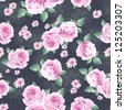 vintage roses over lace seamless background - stock photo