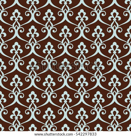 Vintage seamless pattern.  Abstract decorative floral lattice in the Moroccan style. Stylish Vector arabian background in blue and brown colors.