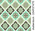 Vintage seamless pattern with geometrical ornate in pastel colors - stock vector