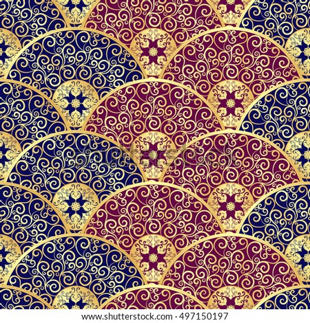 Vintage seamless pattern with golden gradient circles, vector