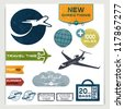 Vintage set of labels with airplanes for aviation company and travel - stock photo