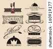 Vintage set of restaurant signs, symbols, logo elements and icons. Calligraphy decorations collection for diner menu.