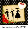 Vintage silhouette of girls on  black background. Vector - stock vector