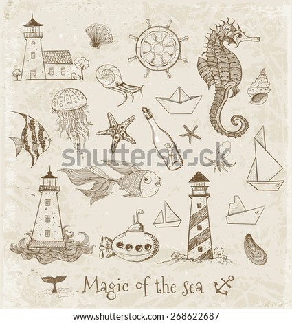 Vintage Sketches of sea elements. Lighthouses, fishes, submarine, jellyfish etc. Vector illustration.