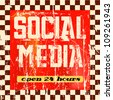 vintage social media sign - stock vector