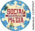 vintage social media sign or button, grungy - stock vector