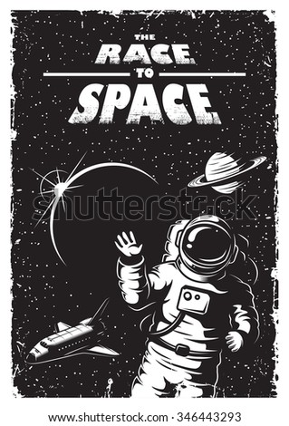 Set Vintage Space Astronaut Badges Emblems Stock Vector ...