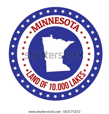Vintage stamp with text Land of 10.000 Lakes written inside and map of Minnesota, vector illustration