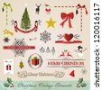 Vintage stitching christmas and new year elements sale set. Vector illustration layered for easy manipulation and custom coloring. - stock vector