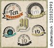 Vintage style 10 anniversary sign collection. Ten anniversary card design in retro style. - stock vector