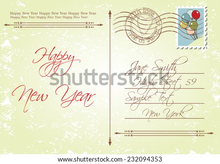 Vintage style back of new years greeting