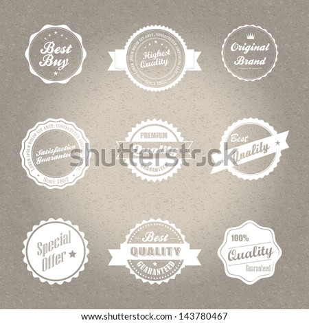 Vintage style badges in editable vector format.