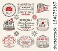 Vintage style Christmas labels - stock vector
