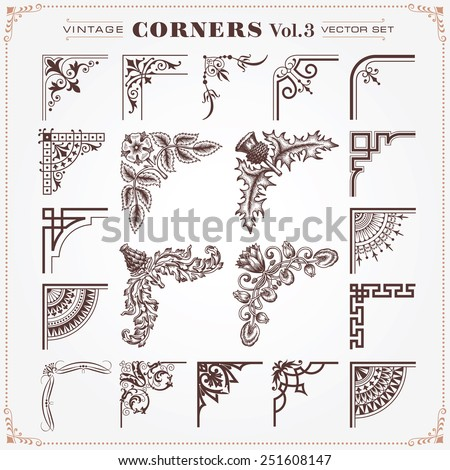 Vintage Style Design Elements Corners and Borders Set 3 Vector