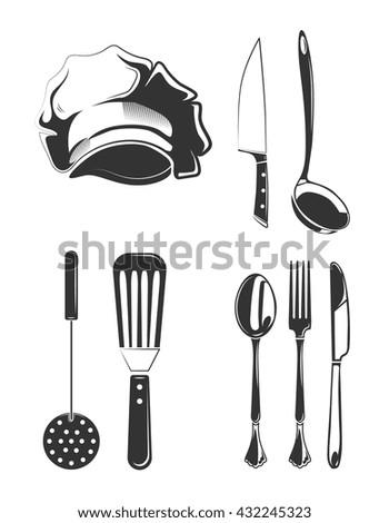 Vintage Kitchen Utensils Illustration kitchen tools vector silhouettes stock vector 140268022 - shutterstock