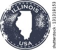 Vintage Style Illinois USA State Stamp - stock photo