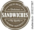Vintage Style Sandwich Menu Stamp - stock vector