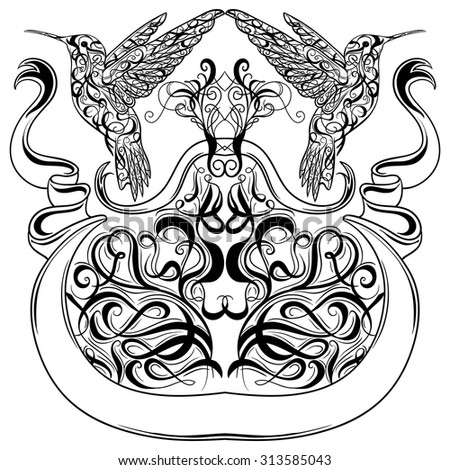 Two Ornamental Dolphins Decorative Flourish Elements Stock
