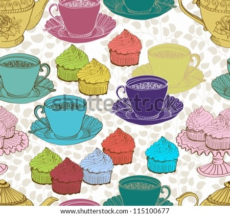 vintage tea background. seamless pattern for design, vector