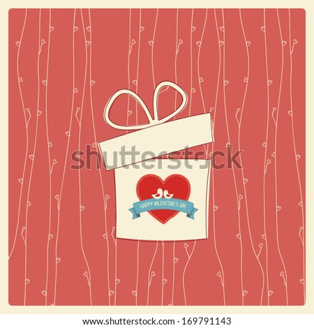 Vintage Valentine's day card with soft colors and simple hand drawn image for retro look. Eps10 vector illustration