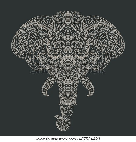 Vintage Vector Elephant Head With Tribal Ornaments Traditional Ethnic Background Tattoo African