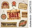 Vintage Vector Metal sign, panel and label collection. Graphic Design Editable For Your Design. - stock photo
