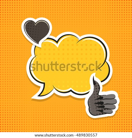 Vintage vector paper sticker for Halloween in flat cartoon style. Cute symbols of  Zombie hand, black heart and text bubble on yellow background