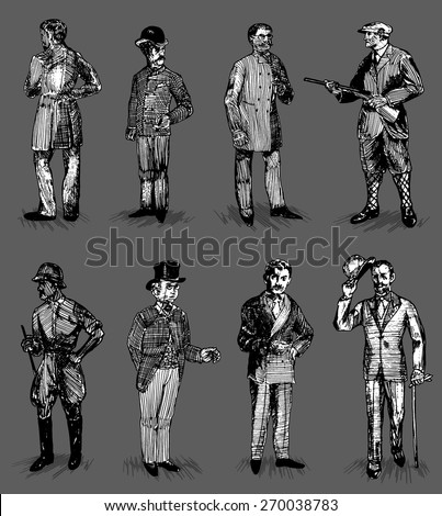 Vintage Vector Set: Eight Hand Drawn Stylish Mid 20 th Century Looking Men