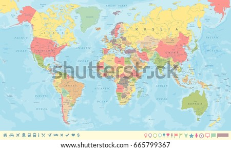 Colored world map borders countries cities vectores en stock vintage world map and markers detailed vector illustration gumiabroncs Choice Image