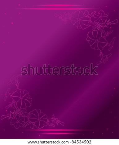 violet card with flowers and gradient