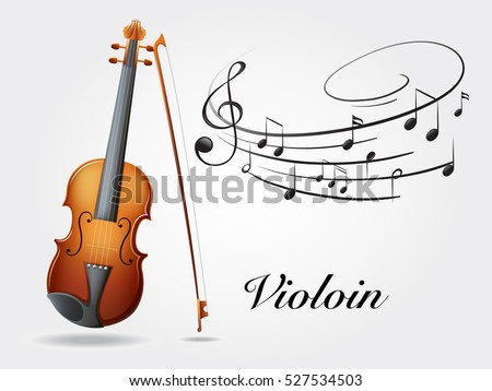 Violin and music notes on white illustration
