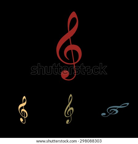 Violin clef isolated; music VECTOR. Isometric effect