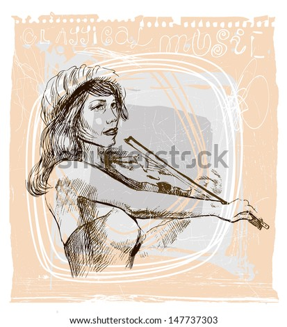 Violin player - An hand drawn illustration (sketch) converted into vector picture.