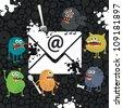 Virus monsters in the email letter. Vector illustration. - stock vector