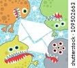 Virus monsters with letter banner. Vector illustration. - stock vector
