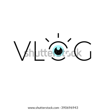 Vlog line icon. With eye graphic.