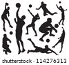 volleyball player silhouette - stock vector