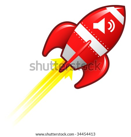 Volume or mute media player icon on red retro rocket ship illustration