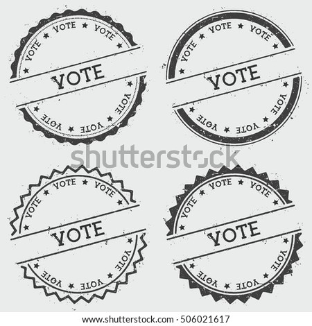 Vote insignia stamp isolated on white background. Grunge round hipster seal with text, ink texture and splatter and blots, vector illustration.