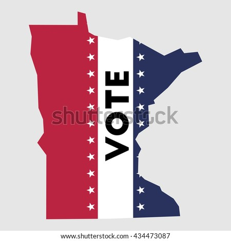 Vote Minnesota State Map Outline Patriotic Design Element To Encourage Voting In Presidential Election 2016
