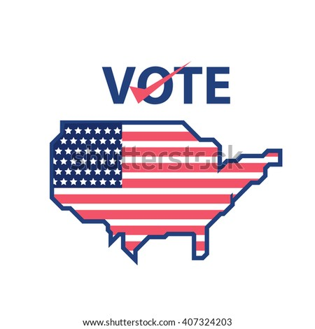 voting with usa flag and map vector ilration