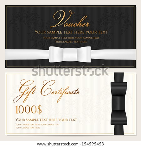 Voucher, Gift certificate, Coupon, Invitation or Gift card template ...