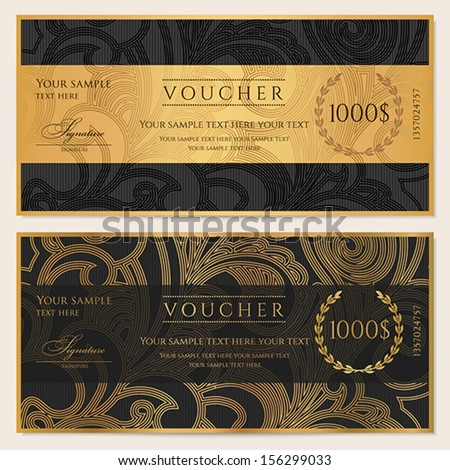 Voucher Gift Certificate Coupon Ticket Template Stock Vector